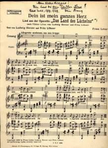 """Noten zu """"Dein ist mein ganzes Herz"""" mit persönlicher Widmung Lehárs an Richard Tauber  (c) Lehár Villa Bad Ischl"""